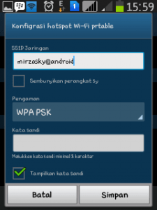 konfigurasi password portable hotspot-android